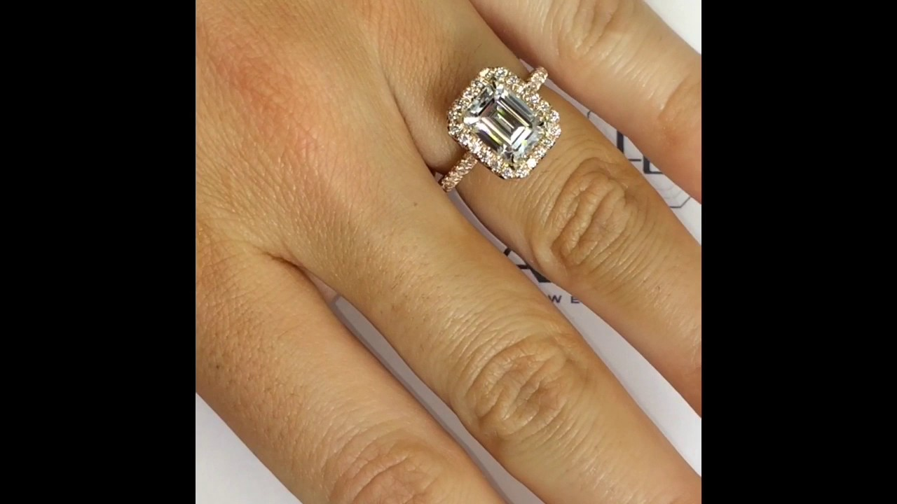 2 50 Ct Emerald Cut Moissanite Engagement Ring Youtube