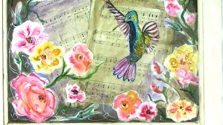 How to Paint a Hummingbird and Flowers | Mixed Media | Shabby Chic Repurposed Antique Door