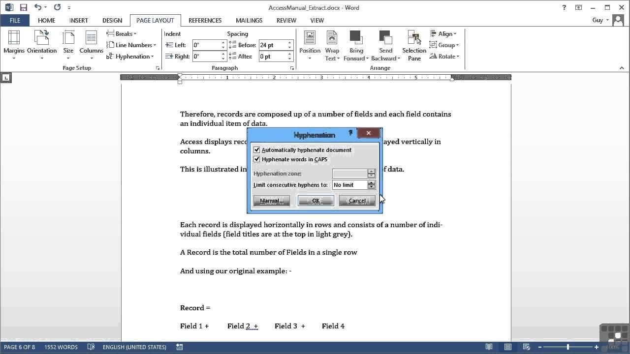Microsoft Word 2013 Tutorial Controlling Hyphenation Youtube
