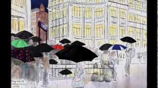 iPhone drawing: Rainy evening, Oxford Circus, London, 13th September 2013
