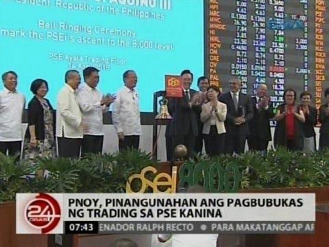 24 Oras: PNoy, pinangunahan ang pagbubukas ng trading sa PSE kanina