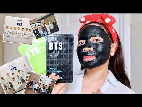 BTS X MEDIHEAL FACE SHEET MASKS SET + PHOTOCARDS (ALL 4) REVIEW!!