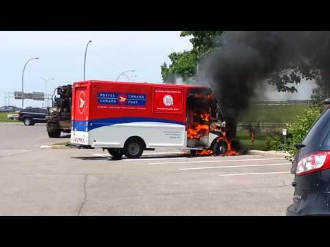 Canada Post truck explodes. (Montreal, QC)