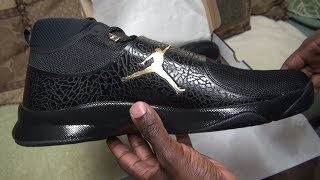 d6ac08620211 Air Jordans Super.Fly 5 Playoffs 2017- Black Gold Metallic  Anthracite-Unboxing And On Foot