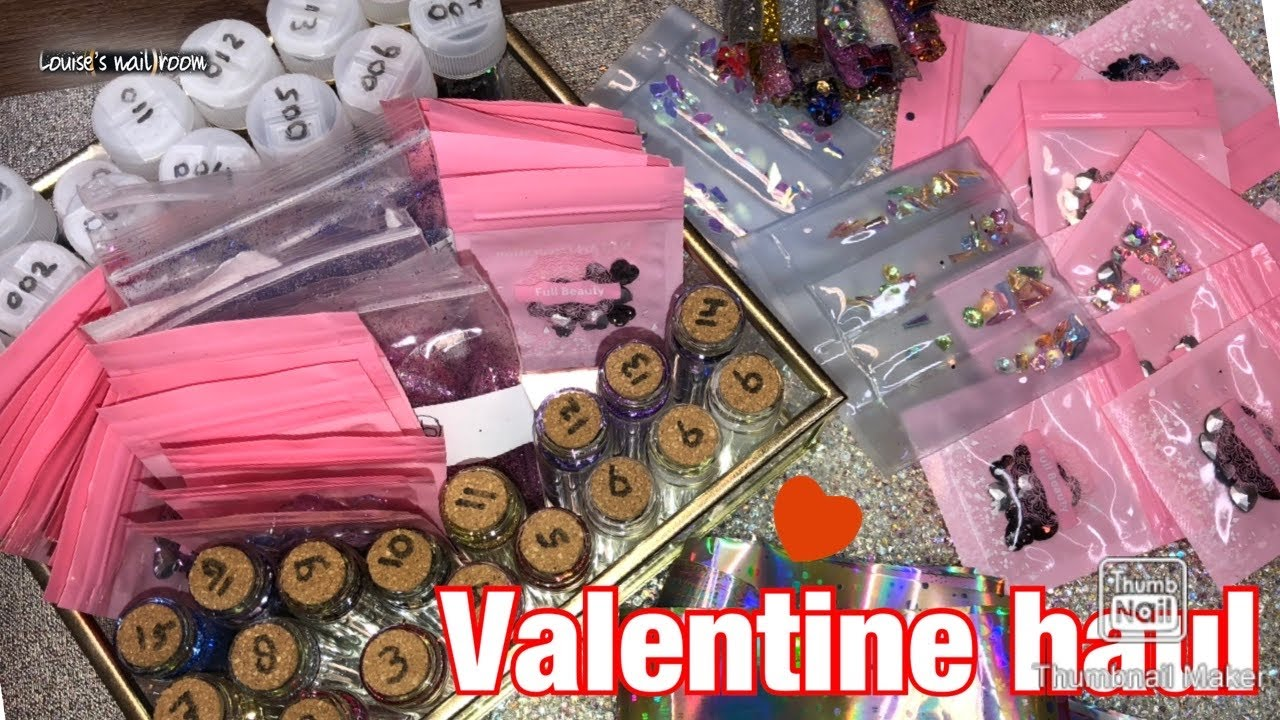 Valentine Nail Art Haul #ALIEXPRESS #GLITTERS AND GLITTER SPARKLE NAIL DESIGN