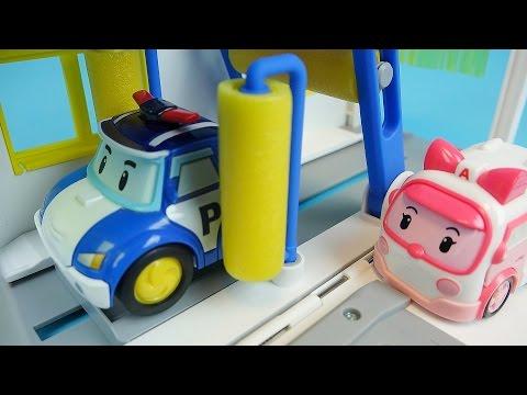 Poli car wash Robocar Poli Tayo bus Pororo car toys play