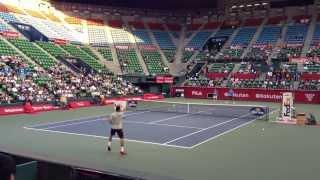 ツォンガ VS デルポトロ 公開練習試合 楽天ジャパンオープンテニスチャンピオンシップス2013