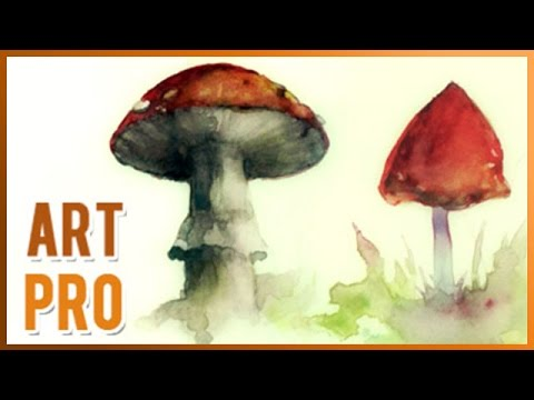 How To Paint Mushrooms With Watercolors Step By Step Youtube