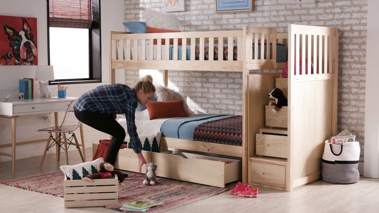 Twin Bunk Bed with Storage Stairs by iNSPIRE Q Junior