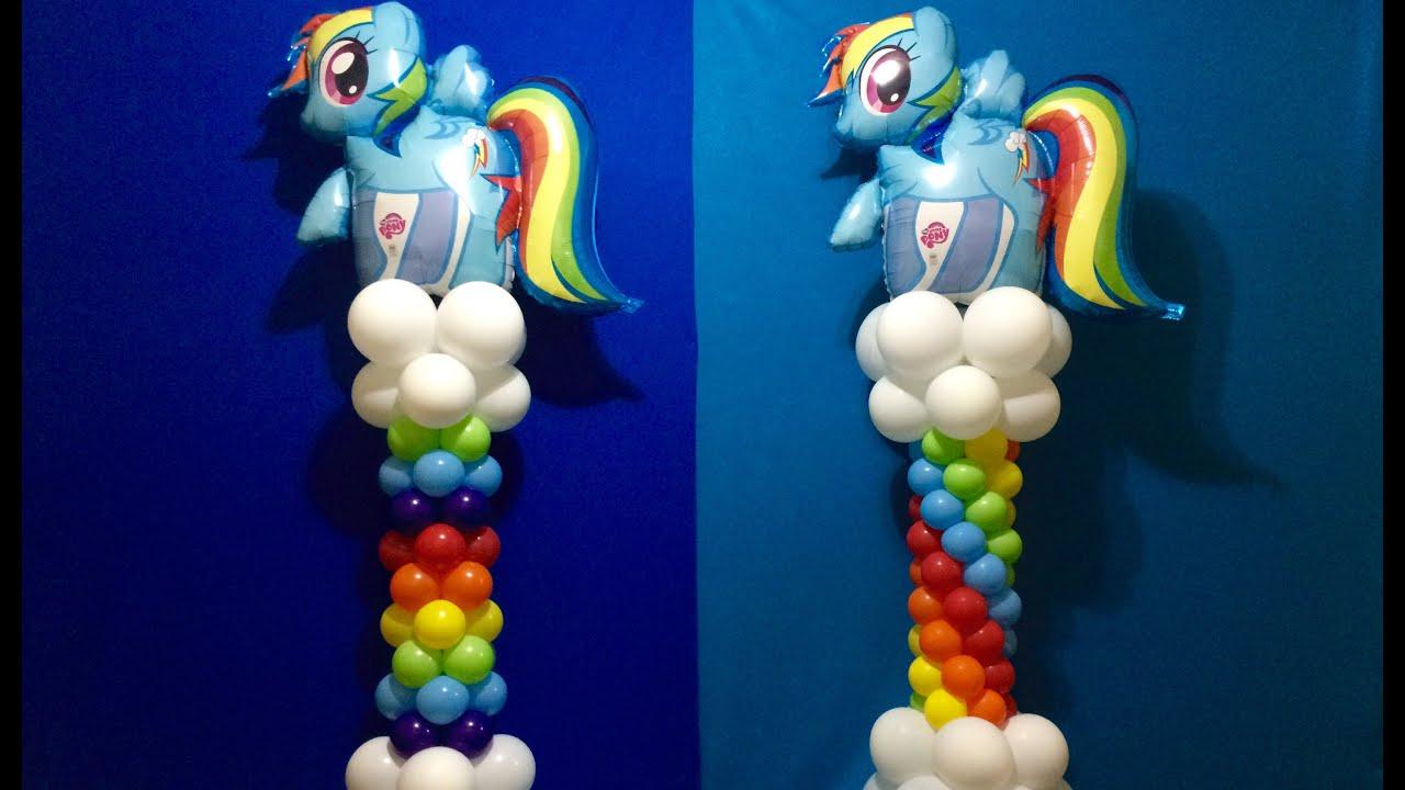 Diy balloon columns - My Little Pony Balloon Column Tutorial Rainbow Dash