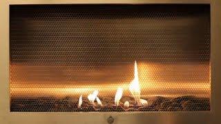 Fancy Stainless Steel Cabinet Fireplace - Yule Log Video