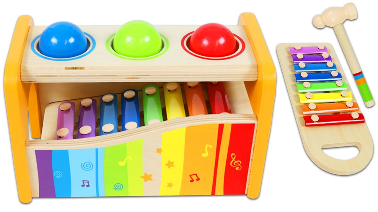 best learning colors video for children| rainbow xylophone wooden ball &  hammer toy!