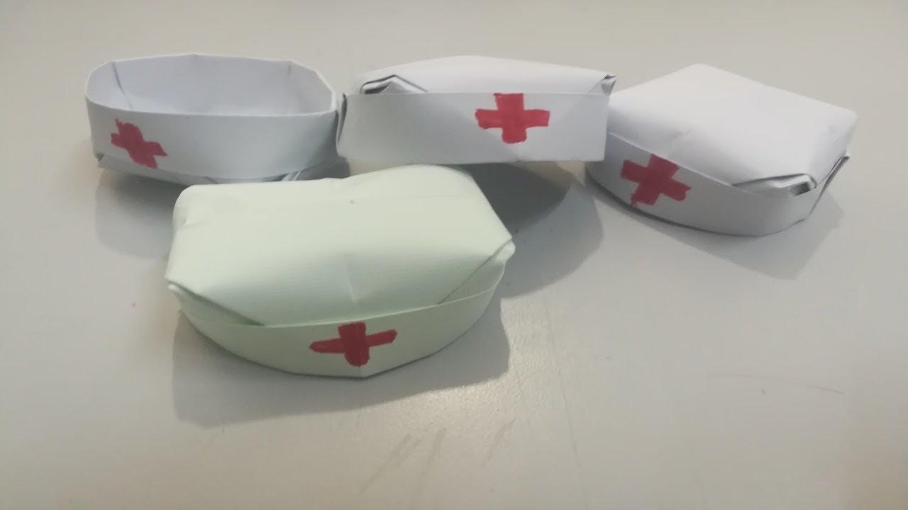 How To Make An Easy Nurse Hat Cap Doctor Origami Nurse Cap
