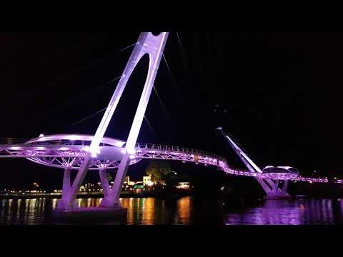 S Bridge at Kuching Waterfront @ night in 4K