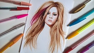 Drawing with: Esferográficas coloridas/ colored ballpoint pens- Avril Lavigne