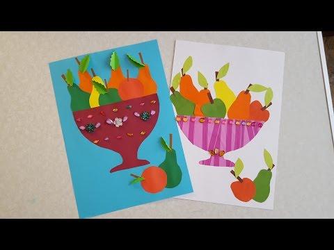 видео: Ваза с фруктами Аппликация из цветной бумаги