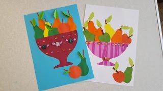 Ваза с фруктами Аппликация из цветной бумаги