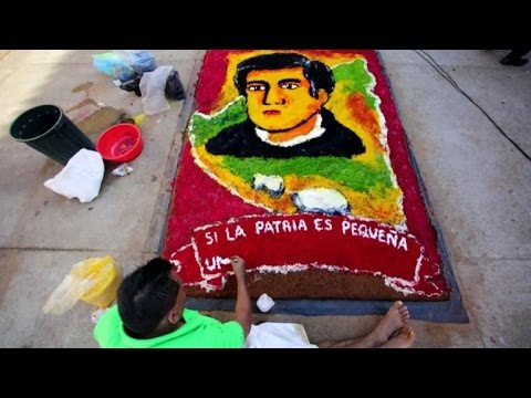 Pavement paintings celebrate 'Modernismo' Nicaraguan poet