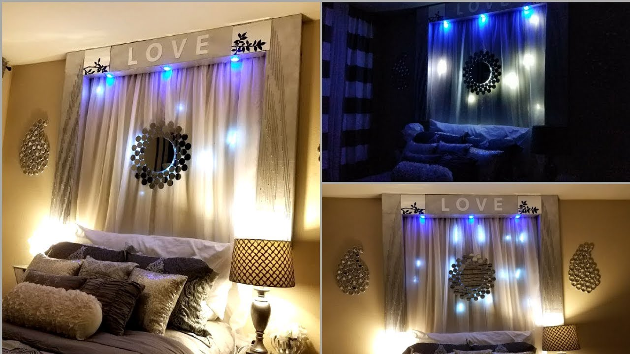 Diy over the bed wall decor with lightings wall - Bedroom wall decor ideas ...