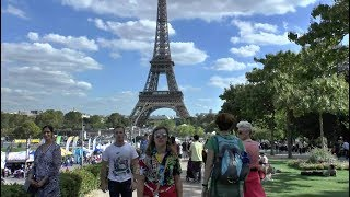 Walk around Paris France Trocadero Bridge Jena Eiffel Tower