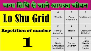 Repeated numbers in date of birth | Repetition of number 1  in lo shu grid
