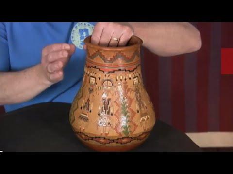 Navajo Corn Yei Pottery Vase By Kennith White (#08)