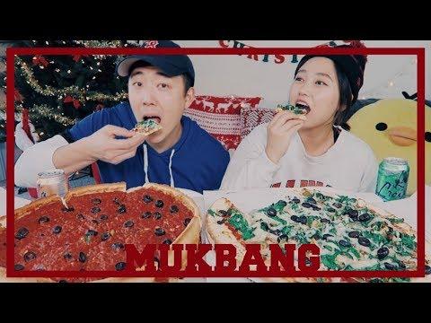 Chicago Deep Dish Pizza VS. New York Style Thin crust Mukbang!