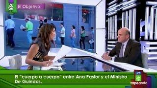 El cuerpo a cuerpo entre Ana Pastor y Luis de Guindos en 'El Objetivo'