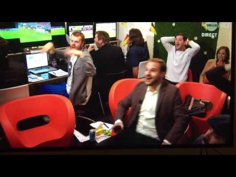 Euro 2016, Croatia vs Spain (2:1) - Belgian TV show hosts cheering for Croatia
