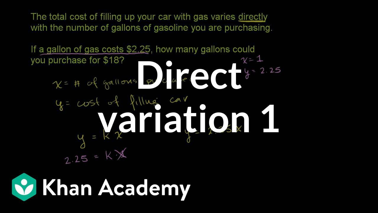 small resolution of Direct variation word problem: filling gas (video)   Khan Academy