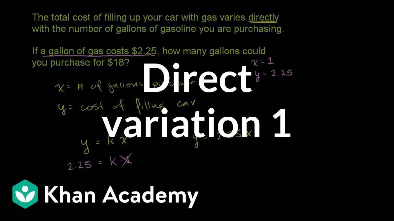 medium resolution of Direct variation word problem: filling gas (video)   Khan Academy
