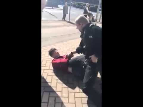 Police officer presses panic button and cs sprays lad