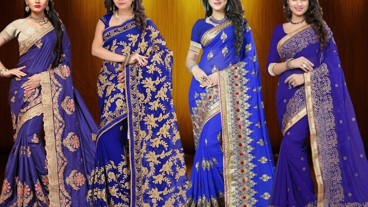 b423a7b8d0125c New Fashion Wedding Collection Dark Royal Blue Sarees | Latest ...