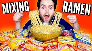 MIXING TOGETHER EVERY RAMEN NOODLES FLAVOR! - Taste Test Experiment!