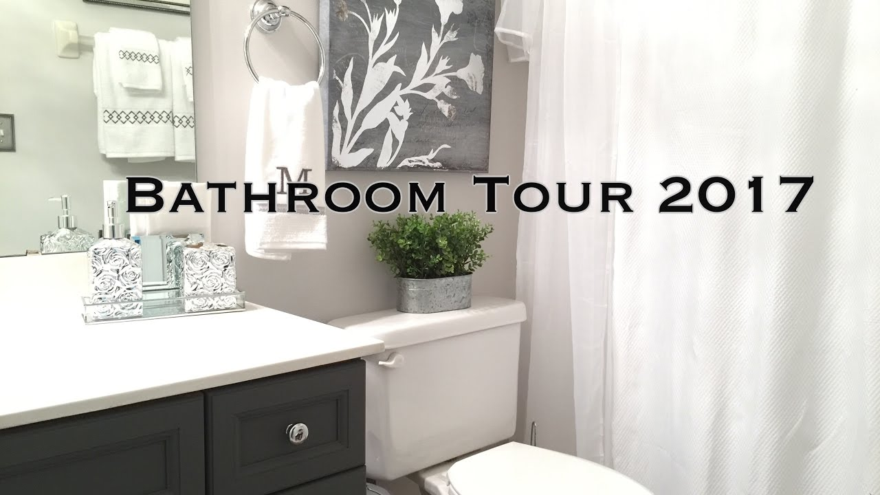 Bathroom decorating ideas tour on a budget youtube for Cheap bathroom decorating ideas for small bathrooms