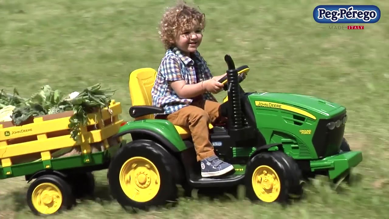 Trator Eletrico John Deere Ground Force Peg Perego Youtube