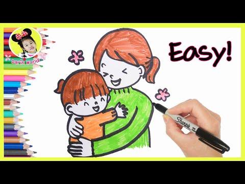 วาดรูป วันแม่ น่ารักๆ ง่ายๆ   แม่กอดลูก   วันแม่แห่งชาติ   How To Draw Mothers Day