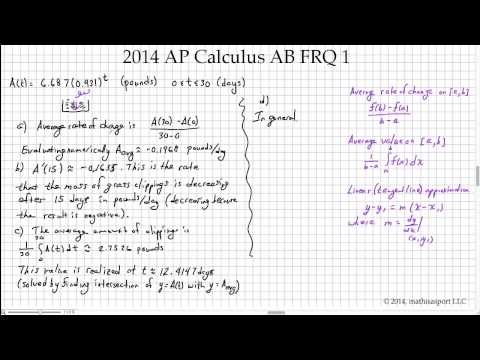 2014 AP Calculus AB (and BC) FRQ 1