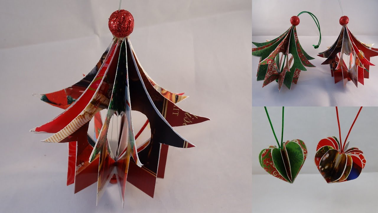 recycled christmas card heart house ornament with yoyomax12 youtube - Old Christmas Decorations