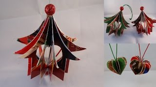 "Recycled Christmas Card ""Heart House"" Ornament - with yoyomax12"