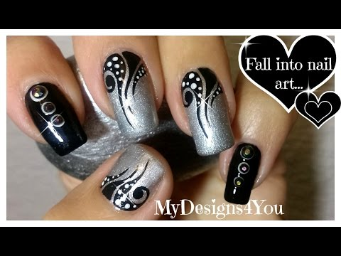 Nail Art: Tattoo, Black And Silver Nails ♥ Diseño De Uñas Efecto Tatuaje