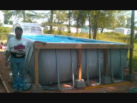 intex rectangular pool with deckwmv - Intex Above Ground Pool Decks