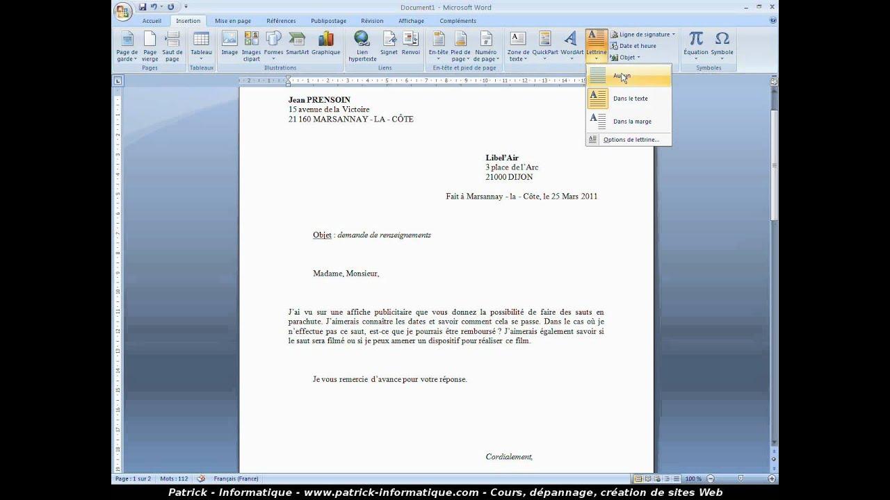 tuto ins u00e9rer une lettrine  word 2007