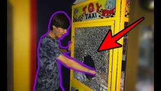 BROKE INTO A CLAW MACHINE **SHATTERED THE GLASS** | JOYSTICK
