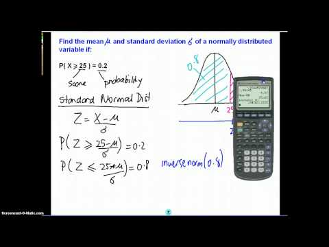 Mean and Standard Deviation of a Normal Distribution