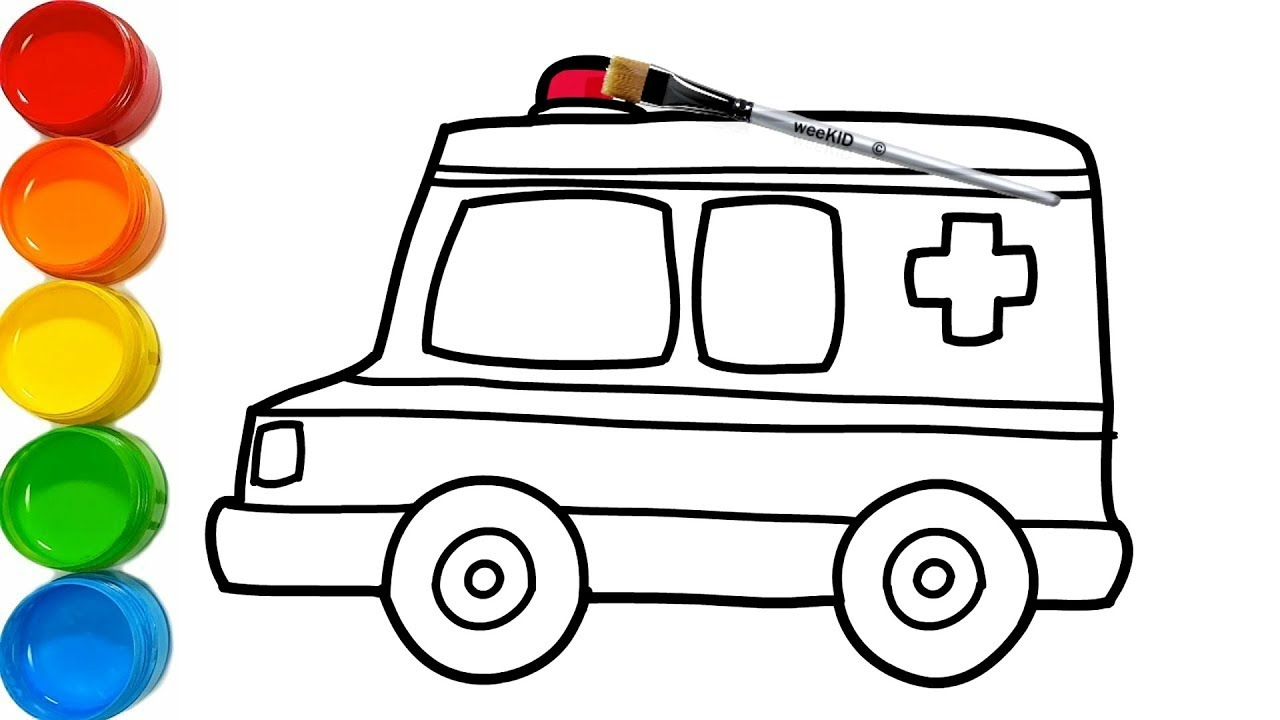 Toy Ambulance Drawing and Coloring | Learn colors for Kids ...