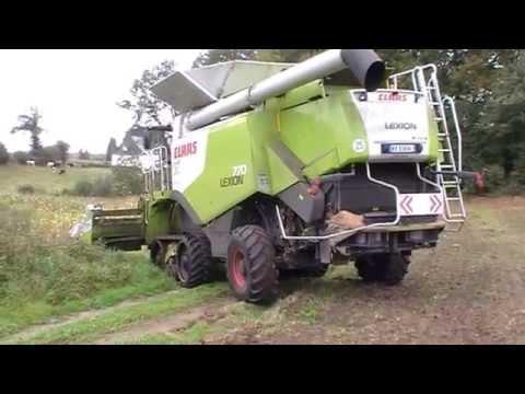Moissonneuses-batteuses(chenilles avants) Claas Lexion 770 filmée en Bretagne .