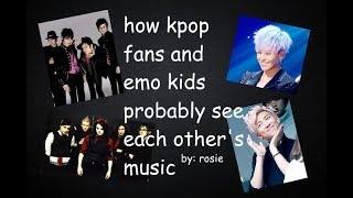 how kpop fans and emo kids probably react to each other's music
