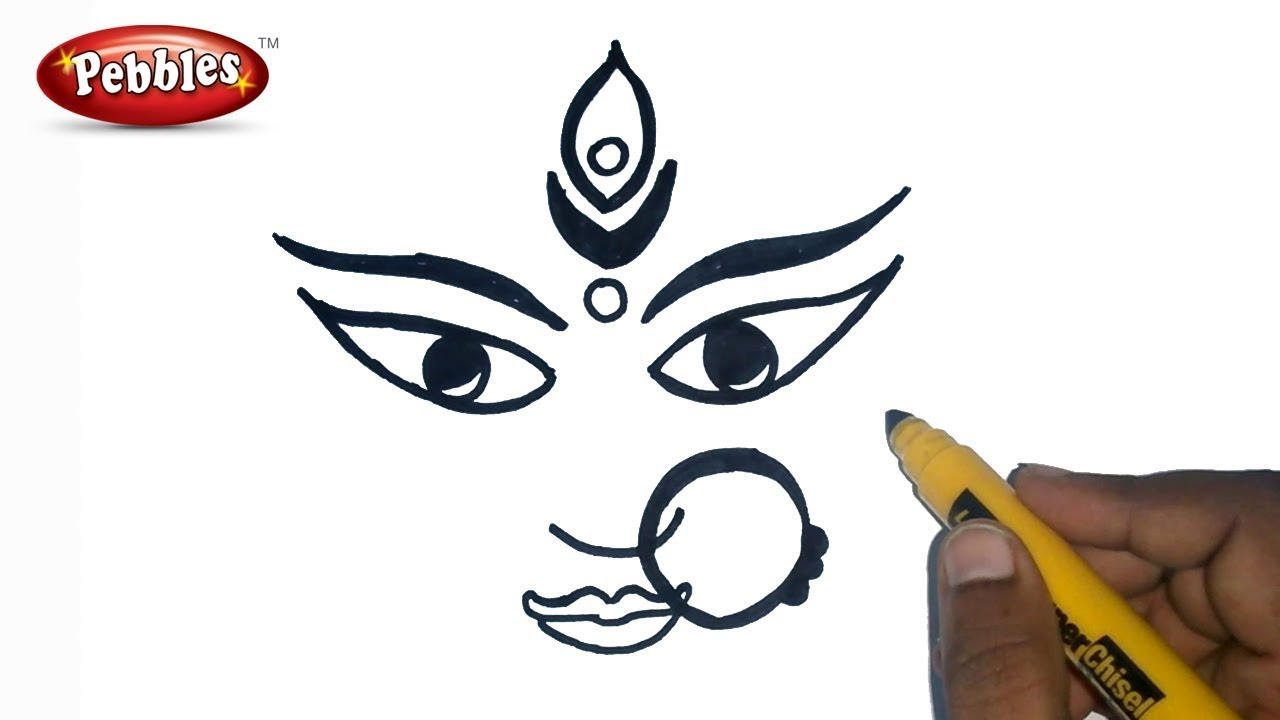 How To Draw Durga Maa Durga Puja Drawing For Kids Navratri Special Youtube