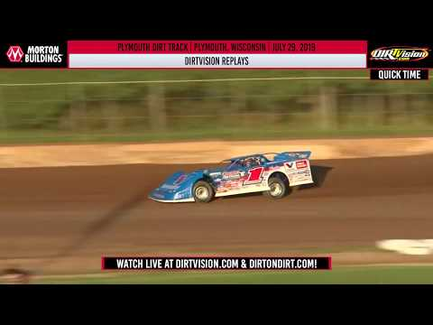 DIRTVision Replays from Plymouth Dirt Track in Plymouth, Wisconsin on July 29th, 2019 - World of Outlaws Morton Buildings Late Models. - dirt track racing video image